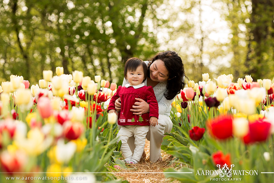 Mother and Daughter with tulips