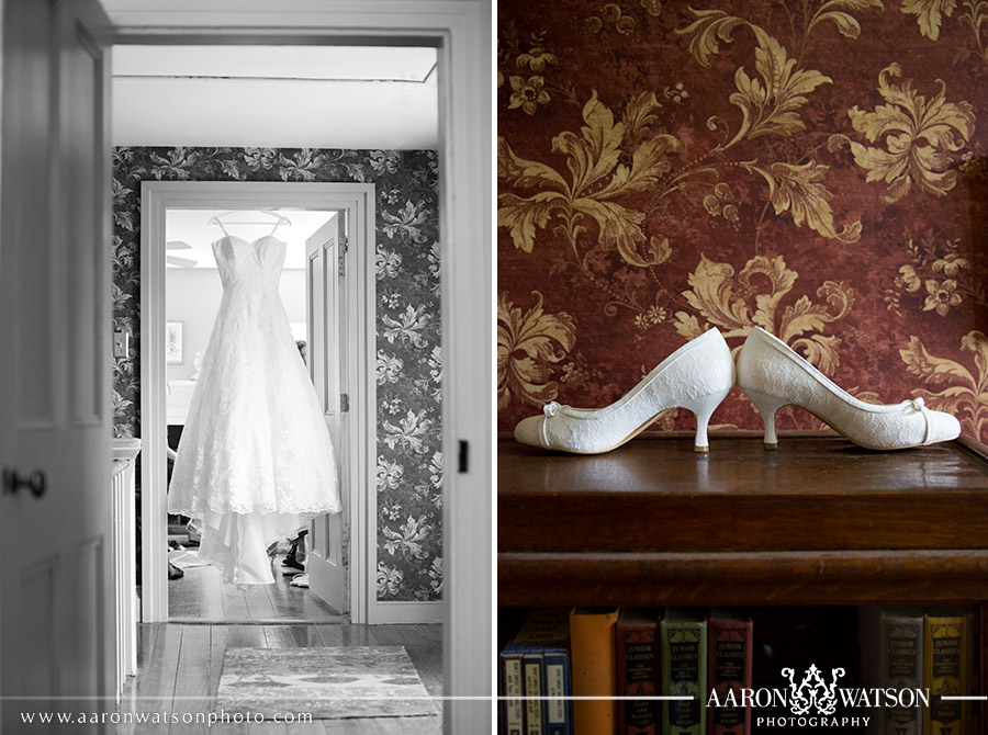 white wedding dress and white shoes