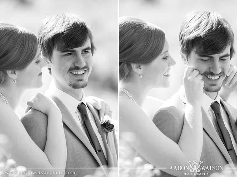 bride squeezing grooms cheeks
