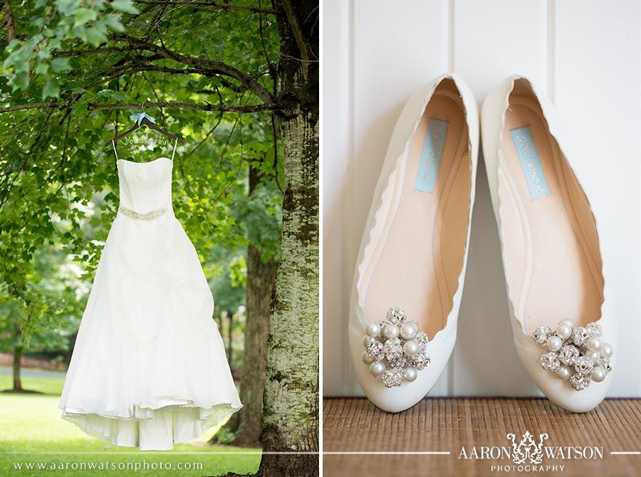wedding dress and ballet flats
