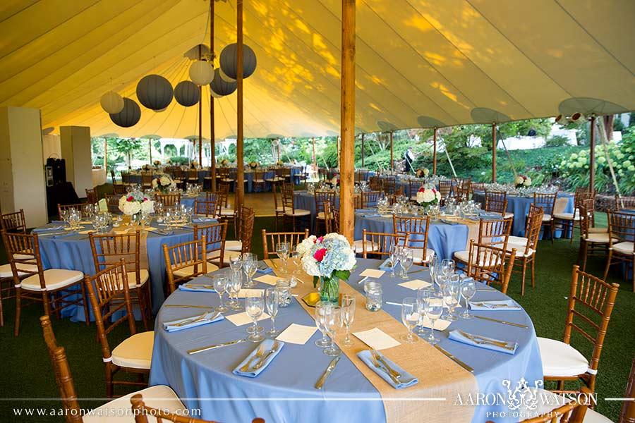 reception under tent at keswick vineyards