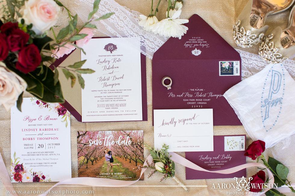 Charlottesville Virginia Wedding Invitation Suite
